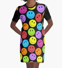 Happy Colorful Smiley Faces Pattern Graphic T-Shirt Dress