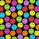Happy Colorful Smiley Faces Pattern by ironydesigns