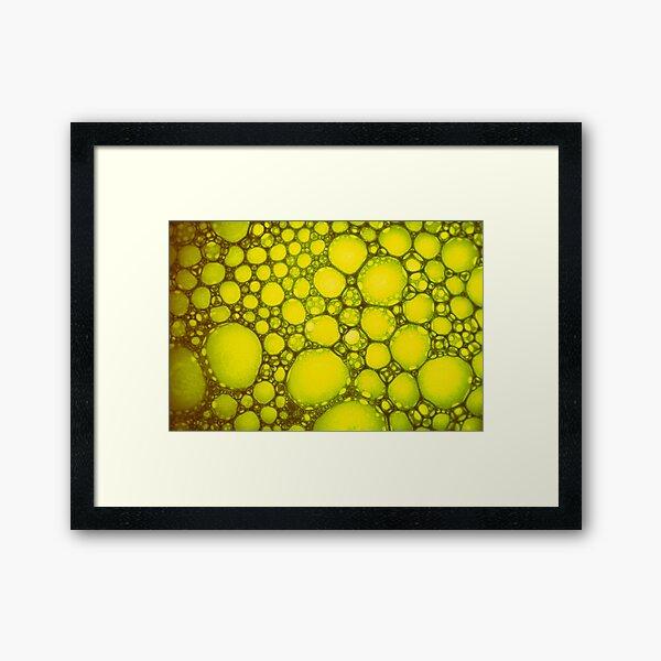 Yellow Abstract Oil on Water Colour Modern Macro Art  Framed Art Print