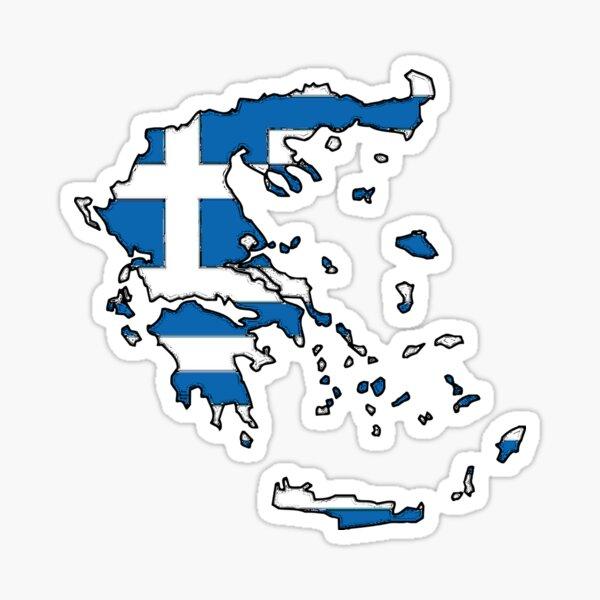 Greece Map With Greek Flag Sticker