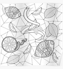 Pattern with lemons and leaves Poster