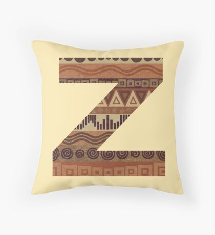 Letter Z Leather Look Pattern Tribal Ethnic Monogram Initial Throw Pillow