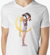 Bunny with cat Mens V-Neck T-Shirt