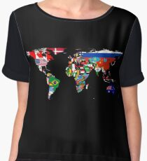 The World Flag Map Chiffon Top