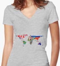 The World Flag Map Women's Fitted V-Neck T-Shirt