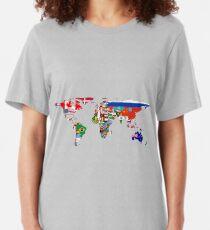 Camiseta ajustada El mapa de la bandera del mundo