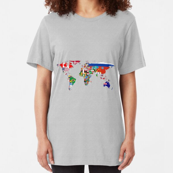 The World Flag Map Slim Fit T-Shirt