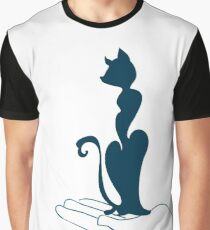 Cat Vector Cartoon in Hand Graphic T-Shirt