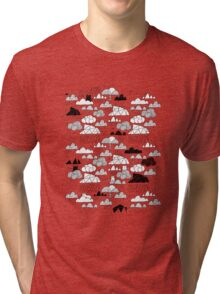 Doodle clouds and cats Tri-blend T-Shirt
