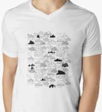 Doodle clouds and cats Men's V-Neck T-Shirt