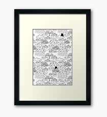Doodle clouds and cats Framed Print