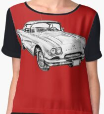 1962 Chevrolet Corvette Illustration Women's Chiffon Top