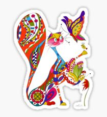 Cat and two butterflies Sticker