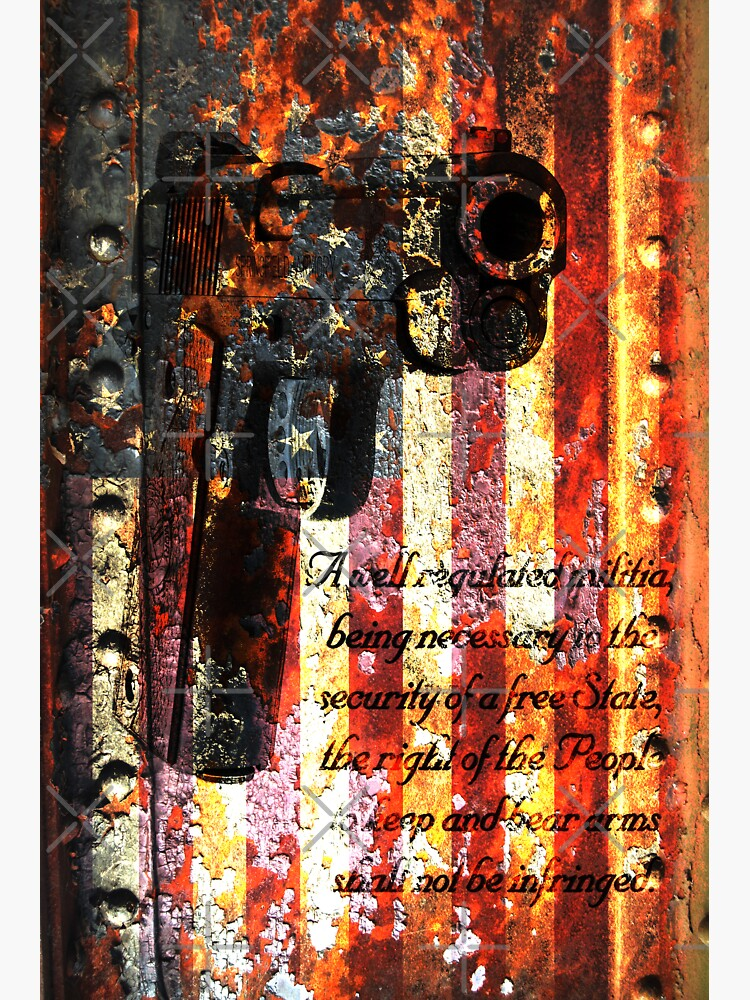 M1911 Pistol And Second Amendment On Rusted American Flag by MolonLabeArt