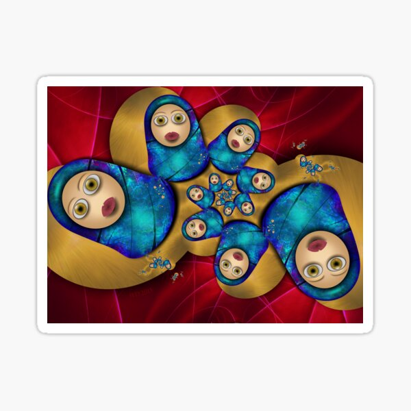 Inner Child - Russian Dolls At Night Sticker