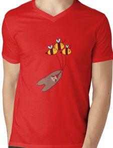 Sloth and Bumble Bees Mens V-Neck T-Shirt