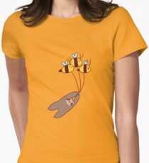 Sloth and Bumble Bees Womens Fitted T-Shirt
