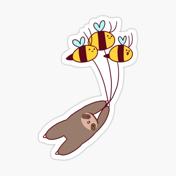 Sloth and Bumble Bees Sticker