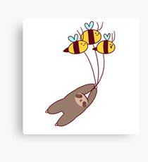 Sloth and Bumble Bees Canvas Print