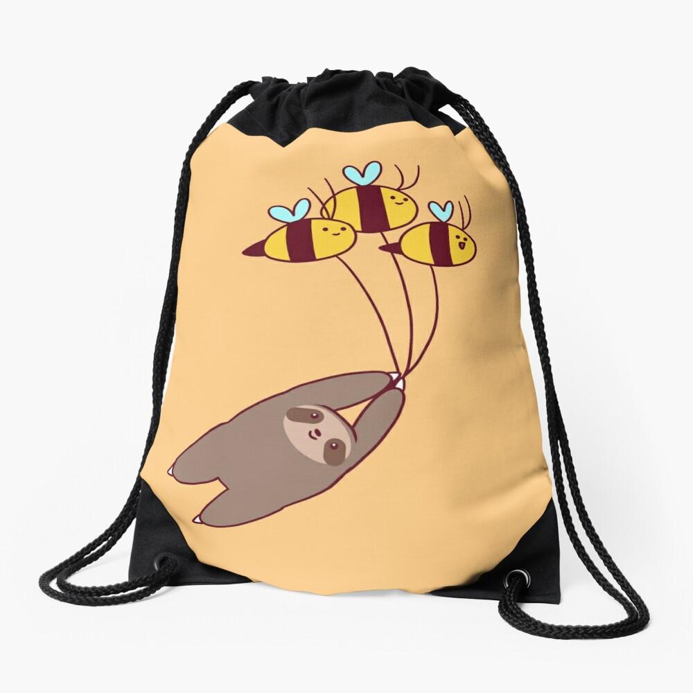 Sloth and Bumble Bees Drawstring Bag