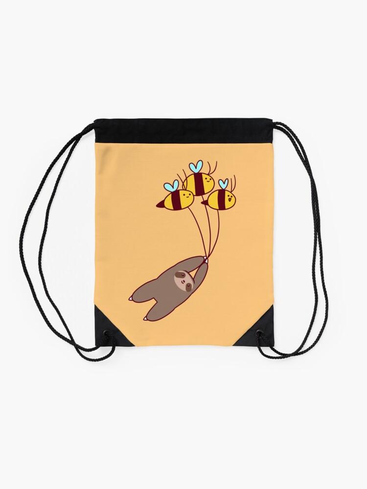 Alternate view of Sloth and Bumble Bees Drawstring Bag