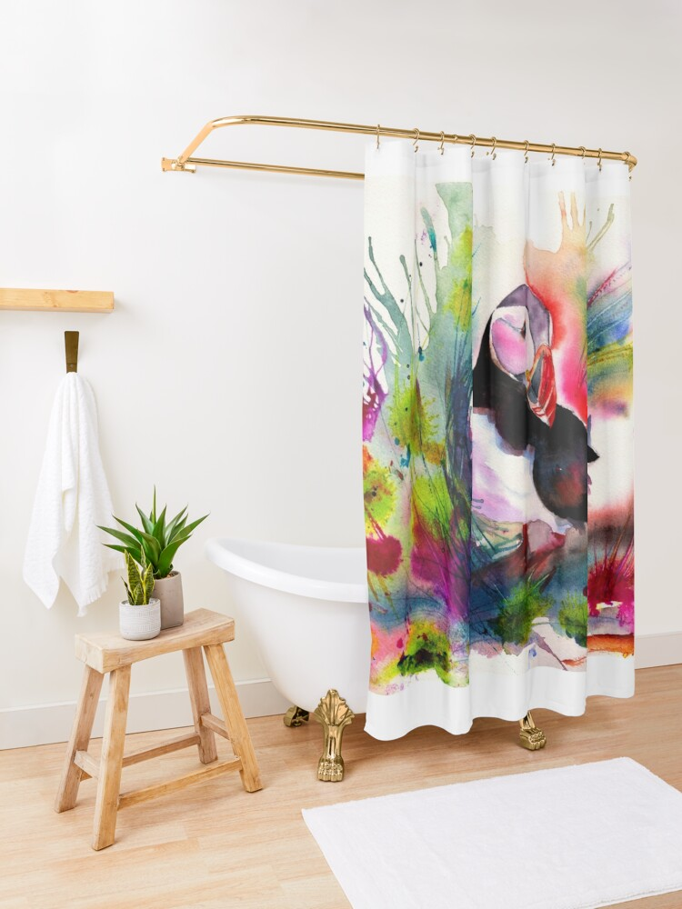 Alternate view of Puffin Shower Curtain