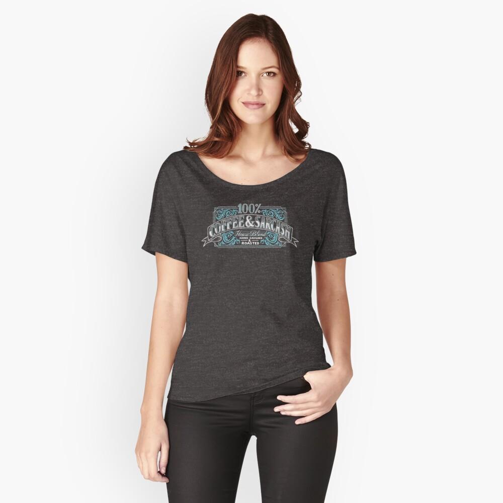 T-shirt coupe relax «100% café et sarcasme»