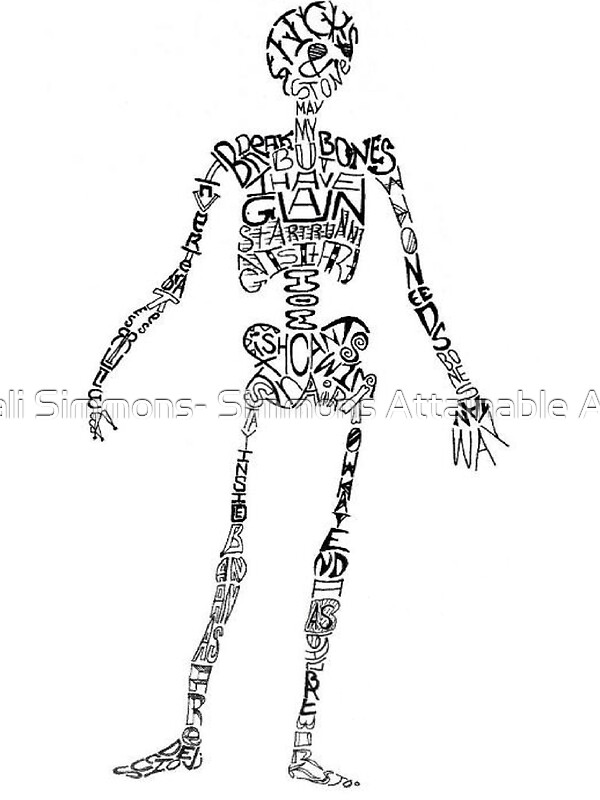 Quot Skeleton Word Art Quot Stickers By Hali Simmons Simmons
