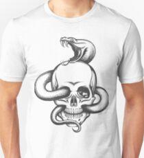 Snake and Skull Engraving Illustration Unisex T-Shirt