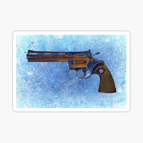 Colt Python 357 Mag On Blue Background. Sticker