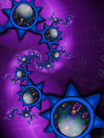Blue Gem Stars in a Purple Galaxy by lacitrouille