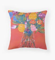 Orange room flowers in a vase Throw Pillow