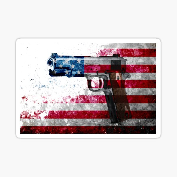 M1911 Colt 45 And American Flag On Distressed Metal Sheet Sticker