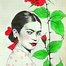Frida Kahlo and red rose by Elisabete Nascimento