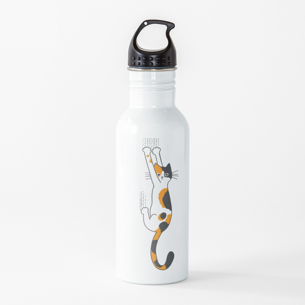 Calico Cat Hanging On  Water Bottle