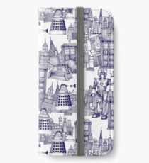 walking doodle toile de jouy blue iPhone Wallet