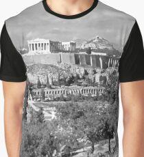 Athenian Acropolis from Philopappou Hill, 1960, B&W Graphic T-Shirt