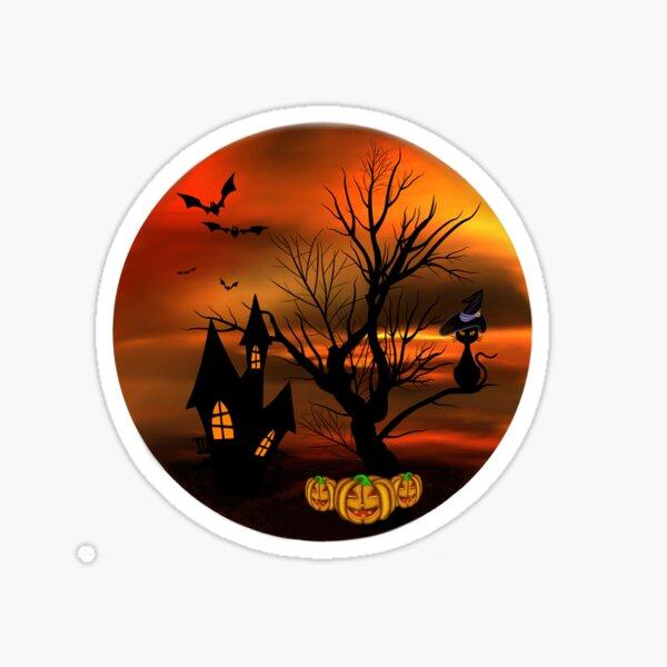 Halloween Katze mit Zauberhut in einem blattlosen Baum, leuchtende Kürbisse, Fledermäuse und eine alte Villa Sticker