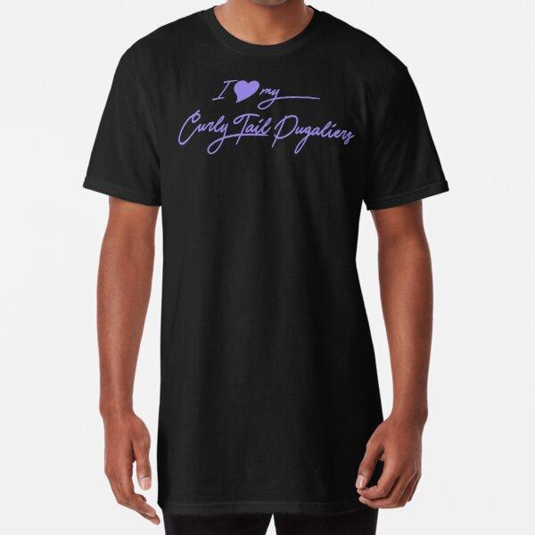 I Love My Curly Tail Pugaliers Apparel & Gear - Lila Camiseta larga