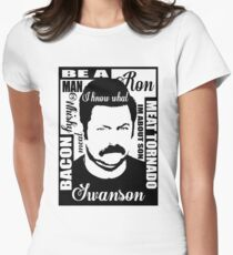 Ron Swanson parks and rec  Women's Fitted T-Shirt