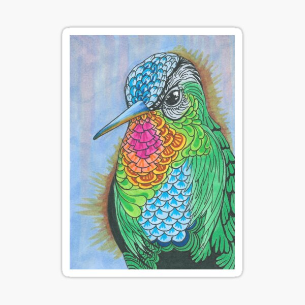 Rainbow Hummingbird Pen and Ink Illustration Sticker