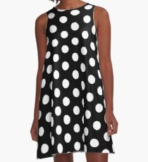 Polka Dot Dress - White Repeating Pattern Dots A-Line Dress