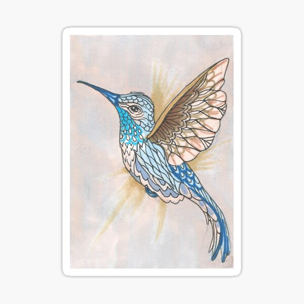 Hummingbird In Golds and Blues Pen and Ink Illustration Sticker