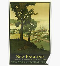 New England Americas Historic Summerland Vintage Travel Poster Poster