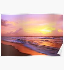 Surf on the beach at sunrise, Cape Hatteras National Seashore Poster