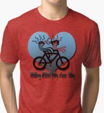Biking With My Love Bug  Tri-blend T-Shirt