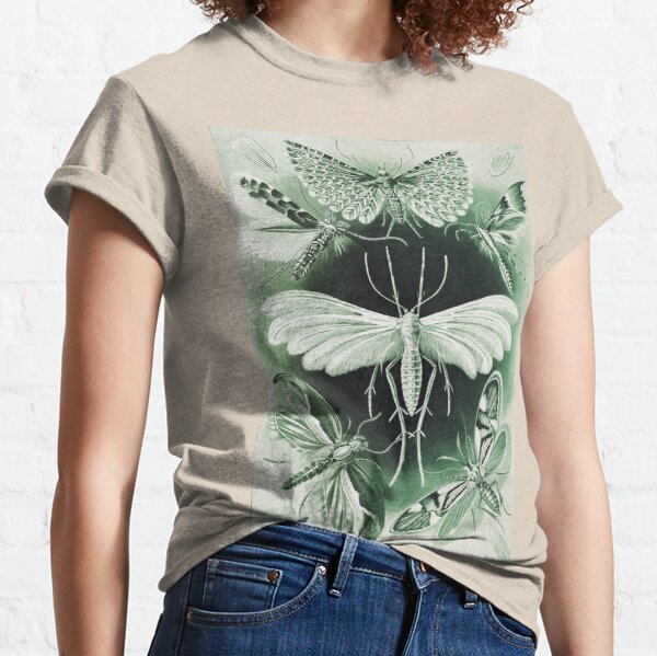 Ernst Haeckel   Moths HD   Flying Creatures   Tinted Green    Classic T-Shirt