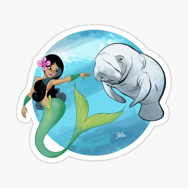 The Mermaid and the Manatee! Sticker