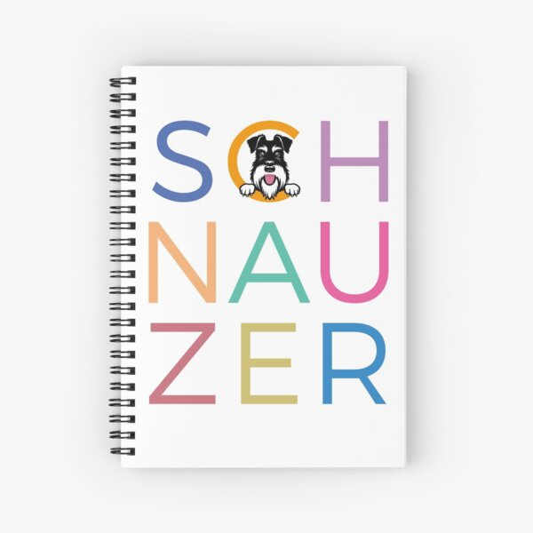 Multicoloured letters with silver and black schnauzer dog Spiral Notebook