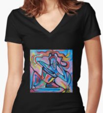 Djembe Player Women's Fitted V-Neck T-Shirt